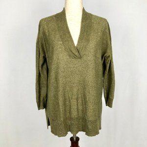 Polo Ralph Lauren Green Linen V-Neck Sweater